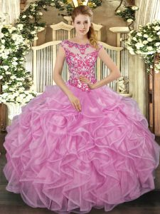 Ball Gowns Quinceanera Gown Lilac Scoop Organza Cap Sleeves Floor Length Lace Up