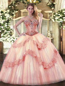 Traditional Baby Pink Lace Up Ball Gown Prom Dress Beading and Appliques Sleeveless