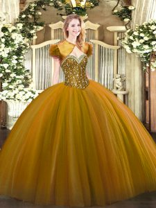 Low Price Brown Ball Gowns Beading Quinceanera Gown Lace Up Tulle Sleeveless Floor Length
