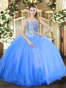 High End Beading Quinceanera Dress Baby Blue Lace Up Sleeveless Floor Length