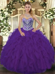 Sweetheart Sleeveless Lace Up Quinceanera Gown Purple Lace