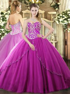 On Sale Fuchsia Sweetheart Lace Up Beading Quinceanera Dresses Brush Train Sleeveless