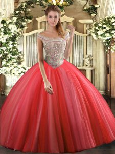 Coral Red Sleeveless Tulle Lace Up Ball Gown Prom Dress for Sweet 16 and Quinceanera