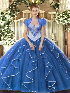 Sweetheart Cap Sleeves Tulle Sweet 16 Quinceanera Dress Beading Lace Up
