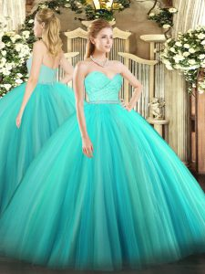 Glorious Sleeveless Tulle Floor Length Zipper Quinceanera Dresses in Turquoise with Beading and Lace