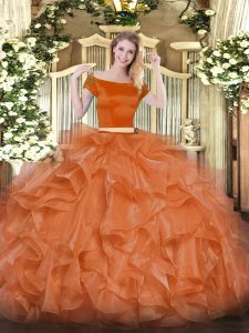 Affordable Two Pieces Quince Ball Gowns Orange Red Off The Shoulder Organza Short Sleeves Floor Length Zipper