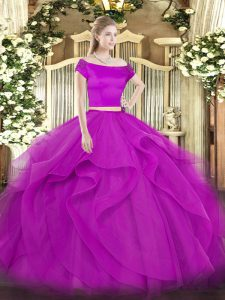 Fuchsia Two Pieces Off The Shoulder Short Sleeves Tulle Floor Length Zipper Appliques and Ruffles Quinceanera Dress