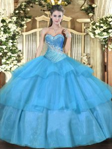Tulle Sweetheart Sleeveless Lace Up Beading and Ruffled Layers Vestidos de Quinceanera in Aqua Blue