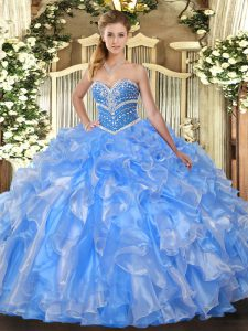 Eye-catching Baby Blue Organza Lace Up Sweetheart Sleeveless Floor Length Quince Ball Gowns Beading and Ruffles
