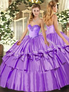 Lavender Sweetheart Neckline Ruffled Layers Sweet 16 Dress Sleeveless Lace Up