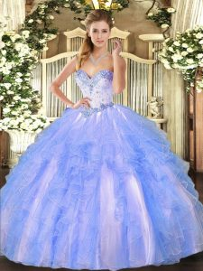 Chic Blue And White Ball Gowns Beading and Ruffles Quinceanera Gown Lace Up Tulle Sleeveless Floor Length