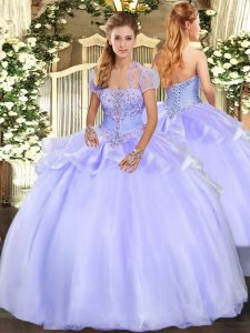 Ball Gowns Quince Ball Gowns Lavender Strapless Organza Sleeveless Floor Length Lace Up