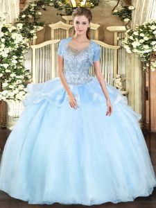 Custom Made Floor Length Clasp Handle Vestidos de Quinceanera Aqua Blue for Military Ball and Sweet 16 and Quinceanera with Beading