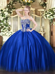 Hot Selling Royal Blue Ball Gowns Satin Strapless Sleeveless Beading Floor Length Lace Up 15th Birthday Dress