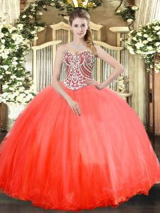 High Class Coral Red Sweetheart Neckline Beading 15th Birthday Dress Sleeveless Lace Up