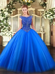 Captivating Royal Blue Sleeveless Beading and Appliques Floor Length Quinceanera Dresses