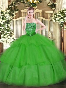 Green Tulle Lace Up 15 Quinceanera Dress Sleeveless Floor Length Beading and Ruffled Layers