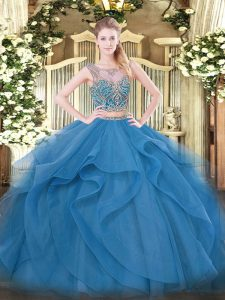 Fashionable Blue Scoop Lace Up Beading and Ruffles Quince Ball Gowns Sleeveless