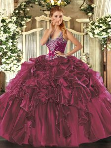 Wonderful Floor Length Burgundy Quinceanera Gowns Organza Sleeveless Beading and Ruffles