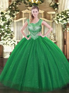 Dark Green Quinceanera Gowns Sweet 16 and Quinceanera with Beading and Sequins Scoop Sleeveless Lace Up