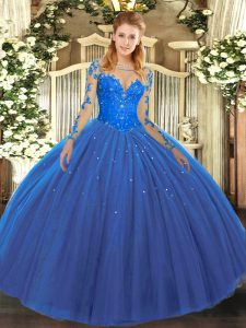 Long Sleeves Floor Length Lace Lace Up Sweet 16 Dress with Blue