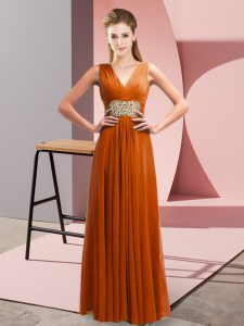 Rust Red Side Zipper V-neck Beading and Ruching Prom Gown Chiffon Sleeveless