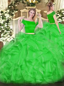 Trendy Off The Shoulder Short Sleeves Quinceanera Dresses Floor Length Appliques and Ruffles Green Organza