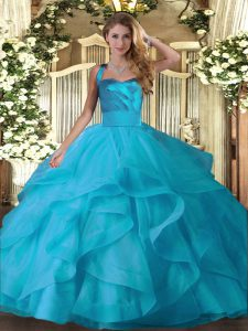 Floor Length Baby Blue Quinceanera Dresses Tulle Sleeveless Ruffles