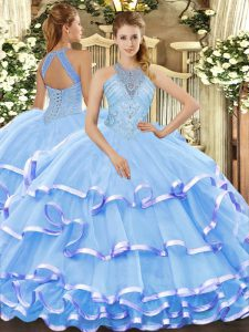 Aqua Blue Organza Lace Up Quinceanera Gown Sleeveless Floor Length Beading and Ruffled Layers