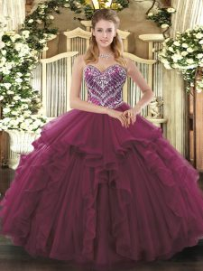 Smart Burgundy Ball Gowns Tulle Sweetheart Sleeveless Beading and Ruffles Floor Length Lace Up Sweet 16 Dresses