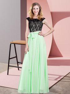 Fancy Apple Green Lace Up Prom Gown Lace and Belt Sleeveless Floor Length