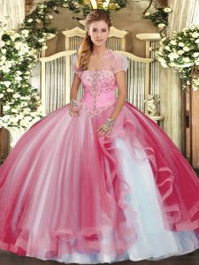 Artistic Pink Lace Up Vestidos de Quinceanera Beading and Ruffles Sleeveless Floor Length
