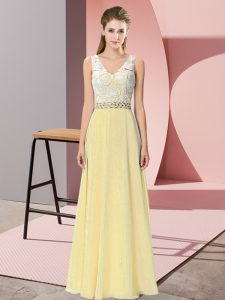 Floor Length Light Yellow Prom Evening Gown V-neck Sleeveless Backless