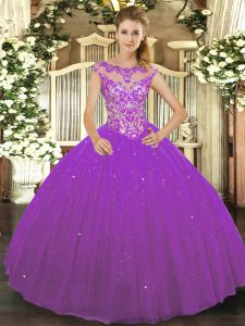 Eggplant Purple Sleeveless Floor Length Beading and Appliques Lace Up Sweet 16 Quinceanera Dress