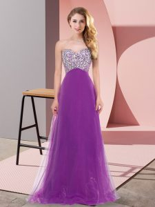 Elegant Floor Length Lace Up Prom Party Dress Purple for Prom and Party with Beading