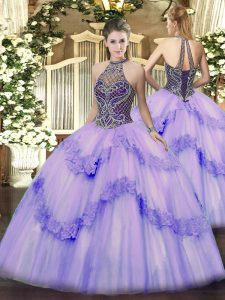 Sweet Beading and Appliques Sweet 16 Quinceanera Dress Lavender Lace Up Sleeveless Floor Length