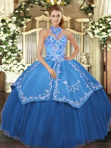 Clearance Teal Satin and Tulle Lace Up Halter Top Sleeveless Floor Length Vestidos de Quinceanera Beading and Embroidery