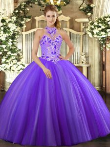 Floor Length Purple Quinceanera Gown Tulle Sleeveless Embroidery