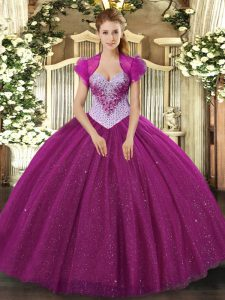 Ball Gowns Quinceanera Dresses Fuchsia Sweetheart Tulle Sleeveless Floor Length Lace Up