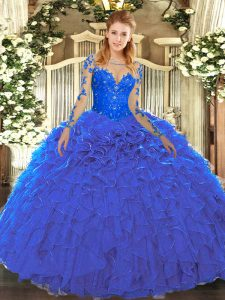 Organza Scoop Long Sleeves Lace Up Lace and Ruffles Sweet 16 Dresses in Blue