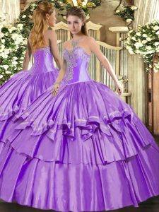 Lavender Organza and Taffeta Lace Up Sweetheart Sleeveless Floor Length Quinceanera Gowns Beading and Ruffled Layers