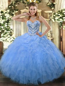 Adorable Floor Length Aqua Blue Ball Gown Prom Dress Sweetheart Sleeveless Side Zipper