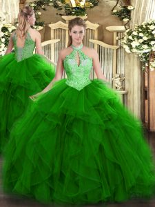 Sleeveless Organza Floor Length Lace Up Vestidos de Quinceanera in Green with Ruffles and Sequins