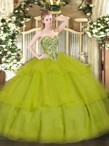 Floor Length Olive Green Sweet 16 Dress Sweetheart Sleeveless Lace Up