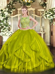 Olive Green Two Pieces Organza Scoop Sleeveless Beading and Ruffles Floor Length Lace Up Sweet 16 Quinceanera Dress