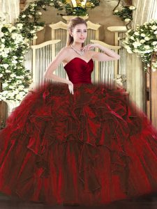 Custom Made Ball Gowns Sweet 16 Quinceanera Dress Wine Red Sweetheart Organza Sleeveless Floor Length Zipper