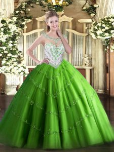 Ball Gowns Scoop Sleeveless Tulle Floor Length Zipper Beading and Appliques Vestidos de Quinceanera