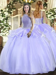 Nice Lavender Ball Gowns Beading 15 Quinceanera Dress Lace Up Organza Sleeveless Floor Length