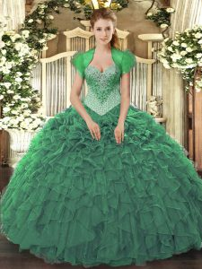 Shining Green Sweetheart Lace Up Beading and Ruffles Quince Ball Gowns Sleeveless