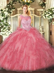 Zipper 15th Birthday Dress Rose Pink for Sweet 16 and Quinceanera with Beading and Ruffles